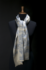 Silver Lace Scarf (Blue)